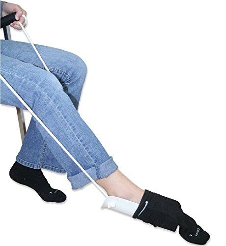WGE Plastikkissen Socken-Hilfsmittel, Unfähigkeitshilfe, Einfache Up Sockenhilfe, Deluxe Flexible Steife Sockenhilfe, Strumpfhilfe