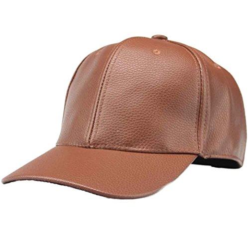Unsex Baseball Cap Ronamick Unisex Klassische PU Leder Baseball Cap Sports Outdoor Basecap Kappe (Braun) (Leder Kappe Baseball)