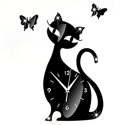 Wall Clocks,Clode® 35x32cm Large Mute 3D DIY Cat Butterfly Acrylic Clock Arabic Numbers Wall Clock Stickers, Mirror Surface Effect Wall Clock Decals, Frameless Removable Acrylic Art Wall Sticker for Home Living Recoration (Black)