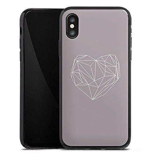 Apple iPhone X Silikon Hülle Case Schutzhülle Herz Liebe Love Silikon Case schwarz