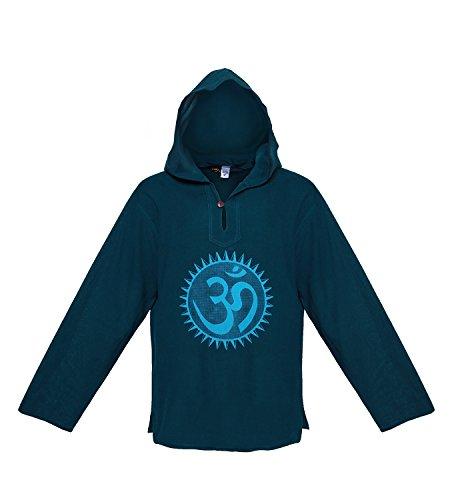 Kunst und Magie OM Kapuzen Überzieher Fischer Hemd Surfer Hoody Baja Nepal Petrol / Blau
