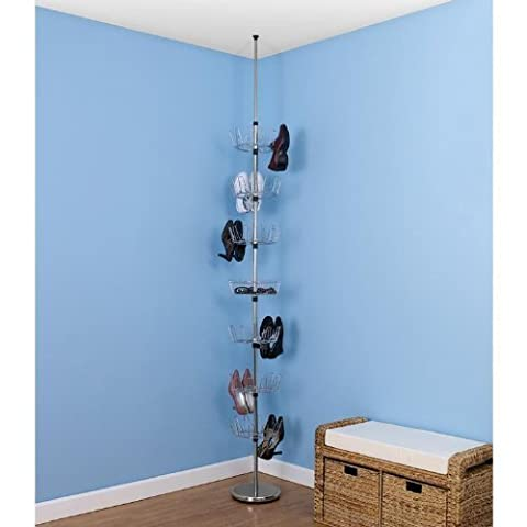 Household Essentials Floor to Ceiling Revolving Shoe Tree Holds 36 Pairs, Chrome by Household Essentials