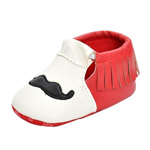 Clode® Neugeborene Mädchen Jungen Krippe Schuhe Soft Sole Anti-Rutsch Baby Sneakers Quasten Schuhe Rot