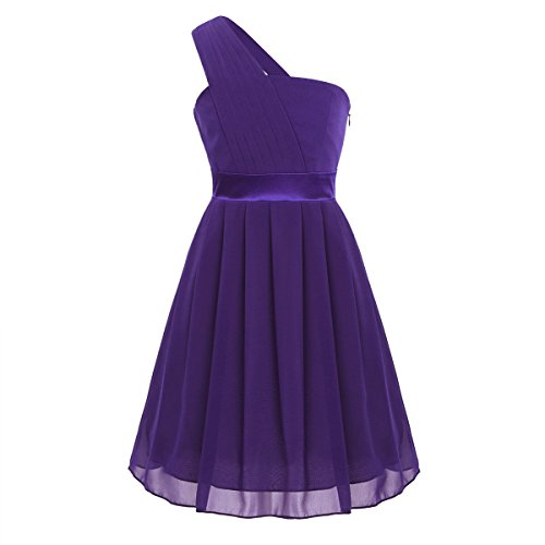 YiZYiF Flower Girls' Dress Pleated Chiffon One Shoulder Wedding Bridesmaid Dance Prom Party Dresses