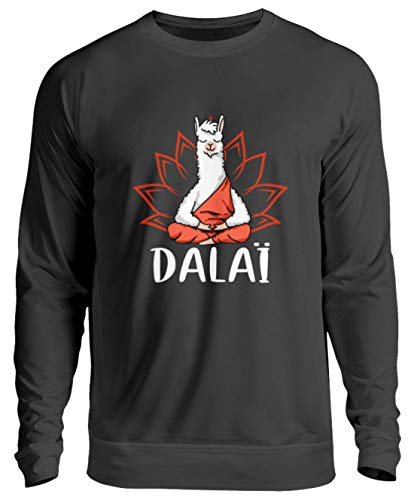 Dalai Lama Kostüm - EBENBLATT Dalai Lama Yoga Meditation Geschenk - Unisex Pullover -S-Jet Schwarz