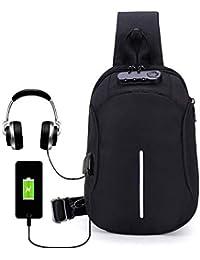 Men's Multi-Functional Casual Satchel Bag Versatile Single Shoulder Bag fFashion Password Lock Anti-Theft Breast Bag Independent USB Charging and Headphone Jack