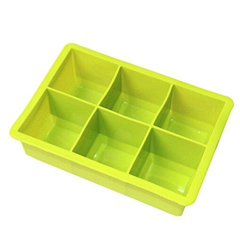 YOKIRIN 6 buche Silicone Cubetto di Ghiaccio vassoio, Rende 50mm Gigante Ice Cubes. Extra Grande, , Ecologicamente Sicuro Silicone Cubetto di Ghiaccio Vassoi.(Verde)