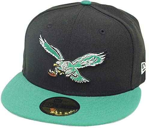 New Era Philadelphia Eagles Black Green 2 Tone Classic Logo NFL Cap 59fifty 5950 Fitted Limited Edition Two Tone Fitted Cap