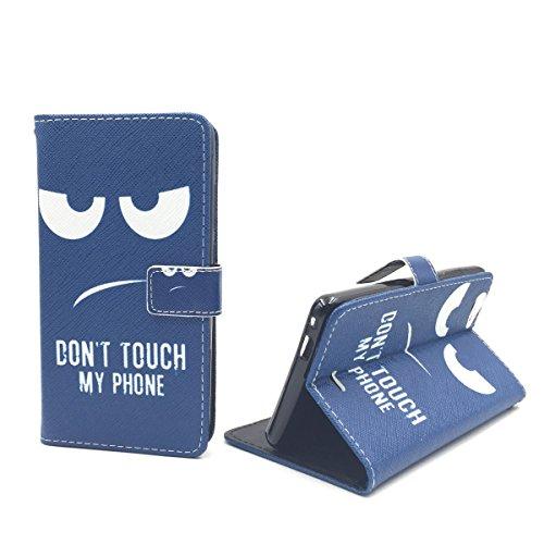 König-Shop Handy-Hülle für Wiko Pulp Fab 4G Klapp-Hülle aus Kunst-Leder | Inklusive Panzer Schutz Glas 9H | Sturzsichere Flip-Case in Blau | Im Dont Touch My Phone Smiley Motiv Blau
