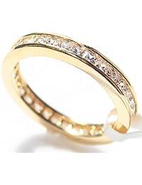 Women's Stunning Gold Filled 18 Kt Ring. Flawless Princess Cut LAB Diamonds Eternity Band. UK Guarantee: 3µ / 10 years. PERFECT GIFT!