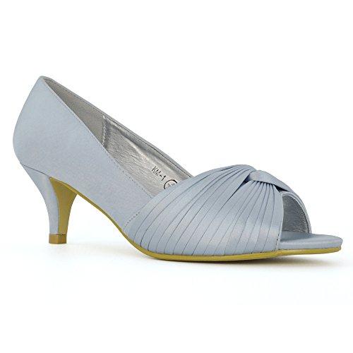 ESSEX GLAM Damen Braut Kätzchen Ferse Silber Satin Peep Toe Schuh EU 38 Navy Peep Toe Schuhe
