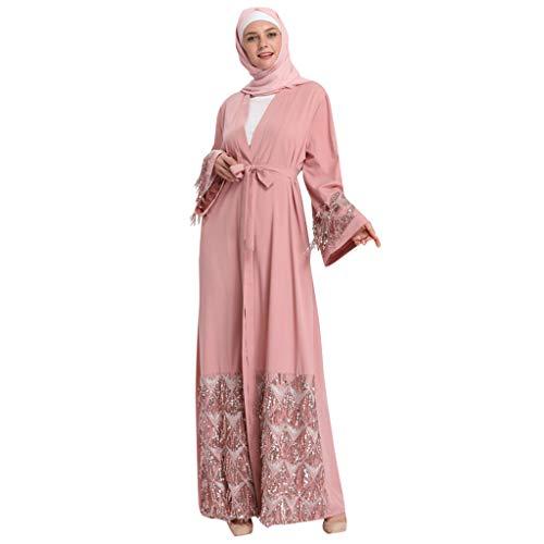Andouy Öffnen Abaya Muslimische Dubai Robe Langarm Sequin Elegant Hochzeit Party Langes Kleid(L(44).Rosa-Sequin) -