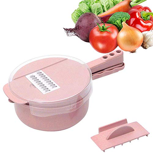 Dragon Honor Mandoline 9 in 1 Multifunktion Slicer Cutter Chopper and Grater Gemüsekartoffelschäler Karotten Zwiebel, Easy Food Chopper(Pink) Cutter-chopper