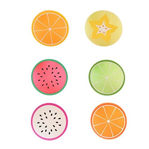 YOKIRIN 6X Manteles de Silicona Redondo Aislamiento del Calor Taza/ Copa/Tabla Mat la Estera de Tabla Manteles Individuales con Pinturas de frutas/CDs