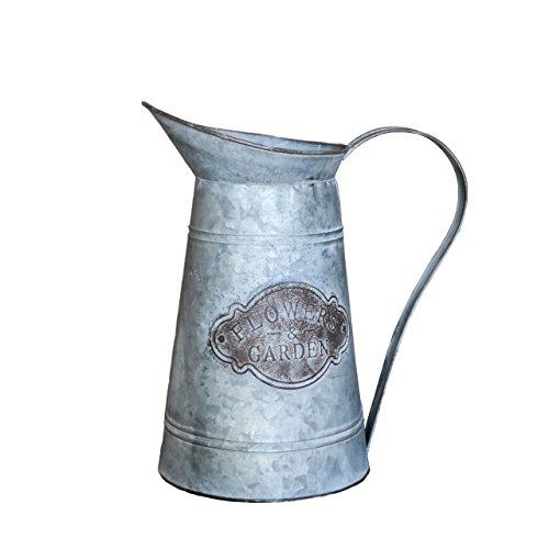 R.E.D Rustikaler Stil Blumen & Garden verzinktem Milchkännchen Metall Vase Krug