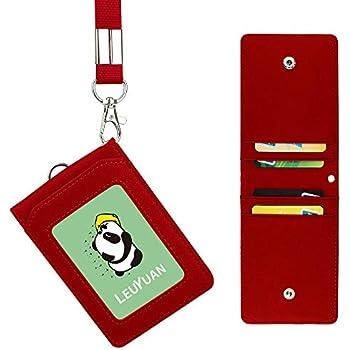 tasca con cerniera a 1/e 1/pezzo 50,8/cm PU cordino//cinghia Vertical Rosalina Porta badge con zip 4/slot per schede Wisdompro 2-sided PU porta badge con 1/finestra ID