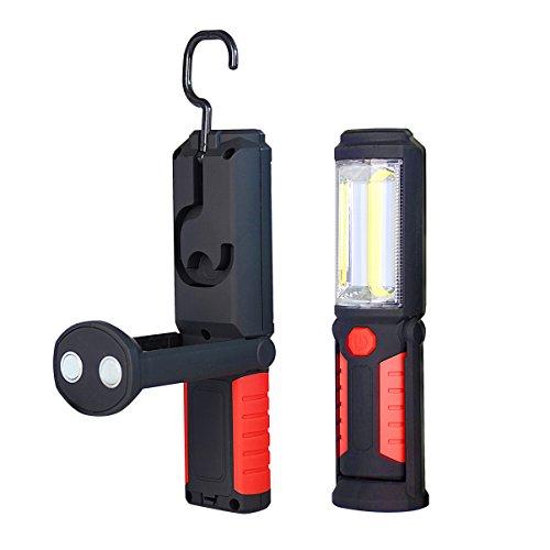 Werksttatlampe Taschenlampe Arbeitsleuchte COB LED Lampe Werkstattleuchte + Taschenlampe 2-in-1 superhell mit 500 LM und 180 LM mit Drehhacken, starkes Magnet und Ständer, super ideal für Camping Kfz