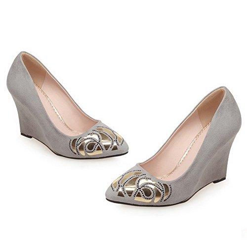 AllhqFashion Damen Spitz Zehe Hoher Absatz Gemischte Farbe Ziehen auf Pumps Schuhe, Grau, 42