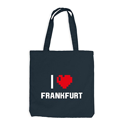 Jutebeutel - I Love Frankfurt - Deutschland Reisen Herz Heart Pixel Dunkelgrau