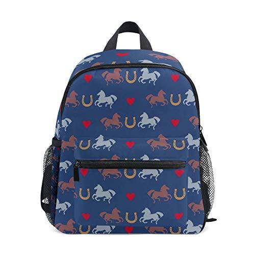 Hufeisen-muster (Rucksack Racing Pferde und Hufeisen Muster Mini Kinder Vorschule Kindergarten Kleinkind Tasche)