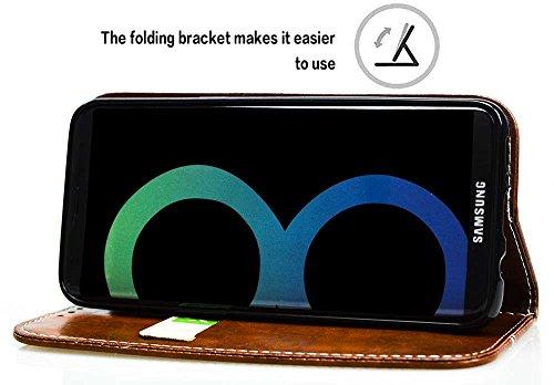Samsung Galaxy S8 Plus Hülle, Samsung Galaxy S8 Plus Echte Rindsleder Brieftasche Hülle , COZY HUT® [Premium Leder Serie] [Wallet Case] Praktishe Ledertasche [Rot] Integrierter Aufstell Funktion und 5 Hellbraune Friedenstaube