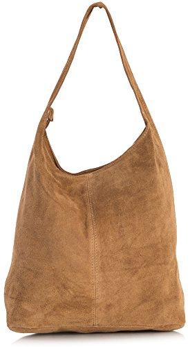 LiaTalia Große echte italienische Veloursledertasche-einzelner Schultergurt Hobo Nietentasche mit schützender Aufbewahrungstasche - Shay Mittelbraun