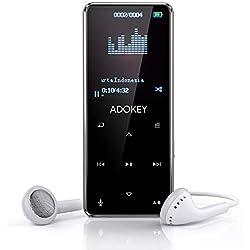 Reproductor Mp3 Bluetooth , ADOKEY 8G HIFI reproductor de metal de calidad de sonido sin pérdidas, 9 botones táctiles con radio FM y función de grabación, pantalla de 1.8TFT, soporte máximo Tarjeta SD de 64GB, puede jugar 55 horas de reproductor de música.