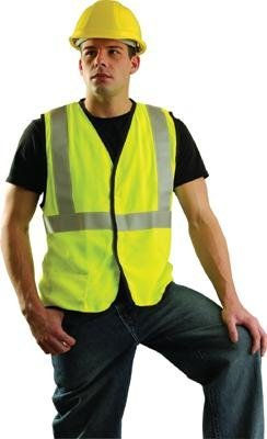 OccuNomix Medium Hi-Viz Yellow OccuLux Premium Economy Light Weight Flame Resistant Solid Modacrylic Class 2 Vest With Front Hook And Loop Closure And 3M Scotchlite 2 Reflective Tape And 1 Pocket by Occunomix