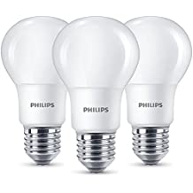 Philips - Bombilla LED esférica E27, 8 W, equivalente a 60 W, blanco cálido, 806 lúmenes, no regulable, pack de 3