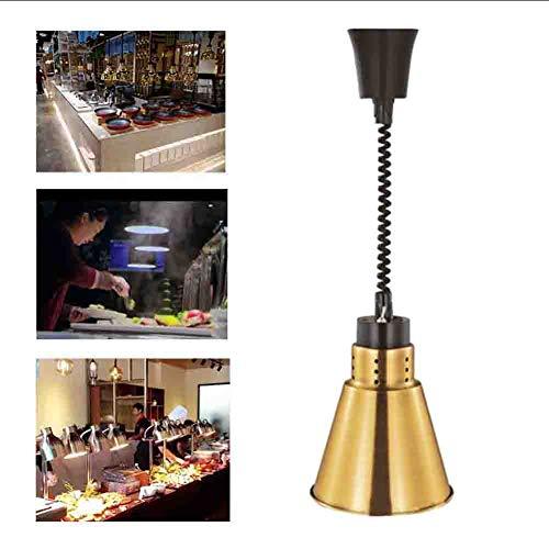 Schwarz-gold-buffet-lampe (Galvanik Lampenschirm Lebensmittel Heizung Lampe Hängen Teleskop Kronleuchter Buffet Lebensmittel Isolierung Lampe Lampe zum Erhitzen von Lebensmitteln 220 v,Gold)
