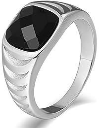 Aooaz Gioielli anello fascia anello acciaio uomo gemma-set Evidenziazione di gemme anello gotico anelli fidanzamento anello biker