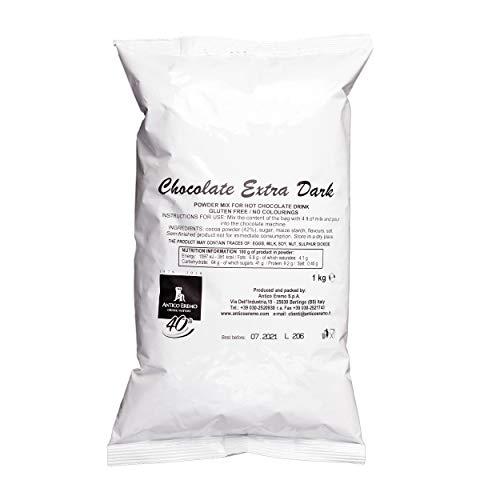 1 kg heiße Schokolade Extra Dark (42% Kakao) Pulvermischbeutel, italienische dicke heiße Schokolade, glutenfrei, keine gehärteten Fette, keine Farbstoffe, vegan, keine Allergene