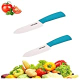 LADY HAWK® Ultra Sharp Light Weight Strong & Premium Quality Imported Zirconia White Blade Ceramic Knife for Cutting Vegetables, Fruits & Boneless Meat With Non Slip Grip & Blade Protection Cover. Perfect Kitchen Knife - Anti Bacterial - Does Not Iodize Vitamins & Retains Natural Taste (Handle Colour: Blue - 4 & 5 Inch White Blade)