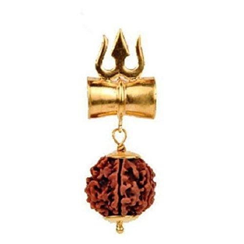 Malabar Gems Shiv Shakti Kavach - 5 Mukhi Rudraksha Trishul Damru (Damaru) Locket / Pendant