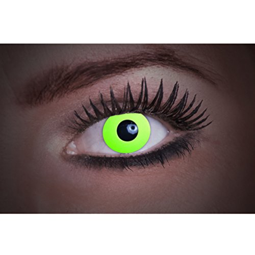 Eyecatcher Flash Green Color Fun, farbige UV-Kontaktlinsen/Motivlinsen, leuchten bei Schwarzlicht, 1er Pack (1 x 2 Stück)