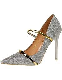 Tacones altos para las mujeres sexy tacón sandalias tobillo correa vestido stilettos Slip-on lentejuelas