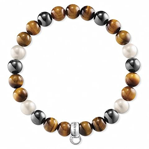 Thomas Sabo Unisex 925 Sterling Silver Freshwater Pearl Tiger Eye Rekon Hematite Bracelet of Length 15.5cm X0218-948-2-L15,5
