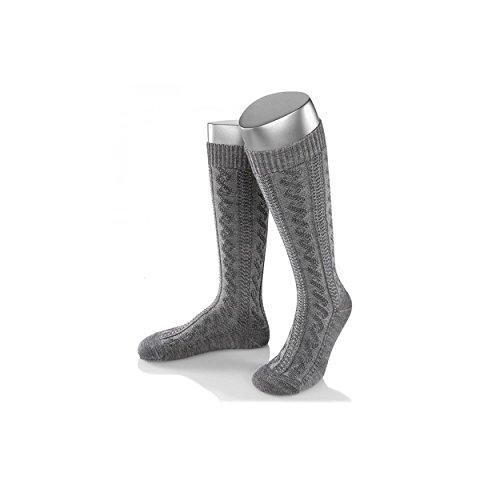ALMBOCK graue Herren Trachtenstrümpfe | Trachten Kniestrümpfe für Männer in grau | Gaudi Oktoberfest Tracht Stulpen in Größe 39-47