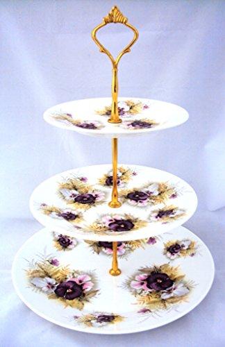 Blumen Kuchen Ständer 3Etagen Fine Bone China Stiefmütterchen Kuchen, Ständer Hand-dekoriert in Großbritannien Pansy Bone China
