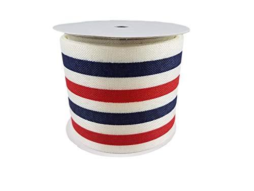 Patriotisches Band mit Drahtrand, Rot/Weiß/Blau mit Sternen und Streifen, für 4. Juli/Gedenkfeier, nautisches Design, 6,3 cm x 0,9 m Gestreift