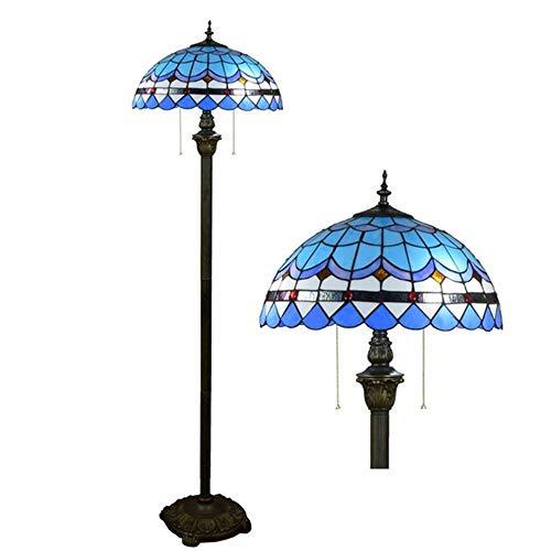 TIPQ Tiffany Stil Glasmalerei Lampe führte Moderne mediterrane Blaue Schlafzimmer Nachttischlampe Dekoration umweltfreundliche Stehlampe -
