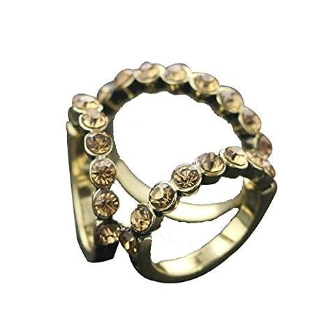 2ST Frauen Eleganter Stilvoller Drei-Ring Diamant Legierung Schal Schnalle Schal Clip Zubehör,E-OneSize