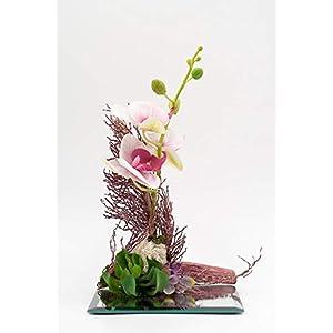 Kleines exotisches Tischgesteck mit Orchideen+Sukkulente auf einem Spiegelglas Untersetzer-Tischdeko mit künstl.Blumen+Pflanze