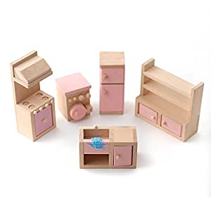Wooden Dolls House Furniture Set Pink Kitchen Toys Games