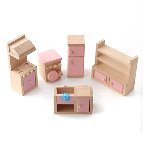 Wooden Dolls House Furniture Set - PINK Kitchen