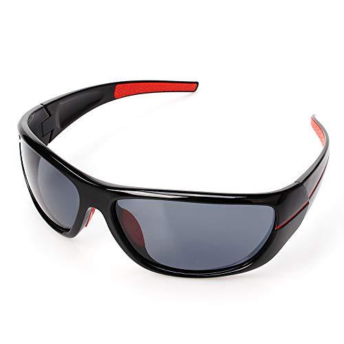 ZHIYIJIA HerrenSportbrille, PolarisierteRadbrille Anti-Rutsch UV400 Schutz für Radfahren Laufen Klettern Autofahren Laufen Angeln Golf Beachvolleybal-grau