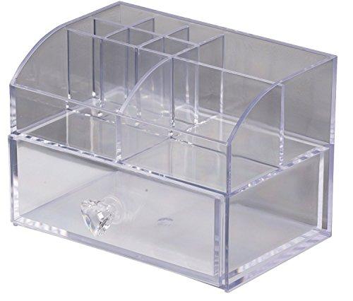 Kosmetik Organizer mit Schublade 14 x 10 x 10cm transparent Kosmetikorganizer Make up Aufbewahrung Cosmetic Icebox Sortierbox Kosmetik Aufbewahrung Schminkaufbewahrung
