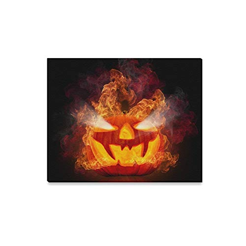 (JOCHUAN Wandkunst Malerei Brennen Halloween Kürbis Auf Schwarzem Drucke Auf Leinwand Das Bild Landschaft Bilder Öl Für Zuhause Moderne Dekoration Druck Dekor Für Wohnzimmer)