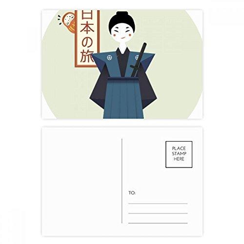 DIYthinker Gracias tarjeta tradicional japonesa antigua Bushi tarjetas postales conjunto de cumpleaños de correo lateral 20Pcs 5,7 pulgadas x 3,8 pulgadas Multicolor