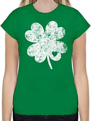 St. Patricks Day - Vintage Kleeblatt mit Herz - M - Grün - L191 - Tailliertes Tshirt für Damen und Frauen T-Shirt